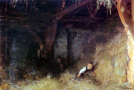 Franz von Defregger - Three boys in the straw
