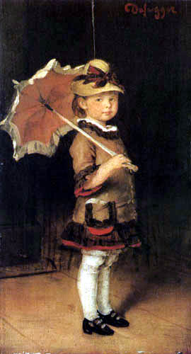 Franz von Defregger - Emma with umbrella