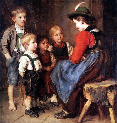 Franz von Defregger - Children scene