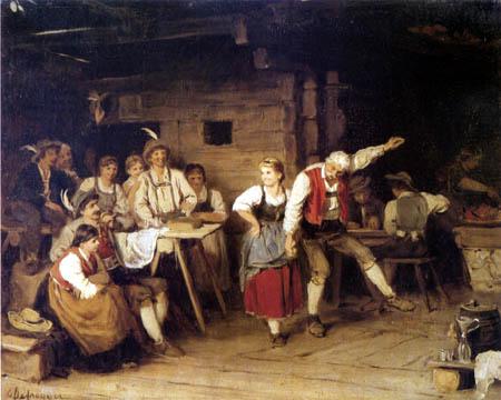 Franz von Defregger - Grandfather dance lesson