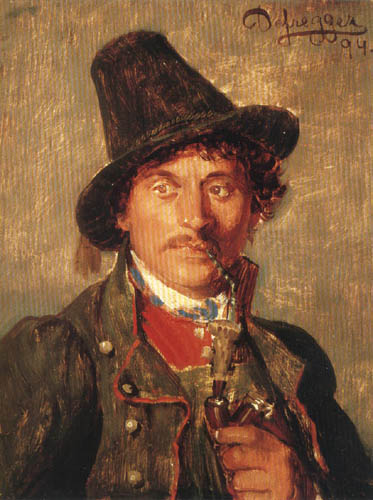 Franz von Defregger - Young farmer with hat