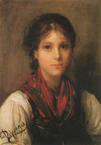Franz von Defregger - Portait of a Girl