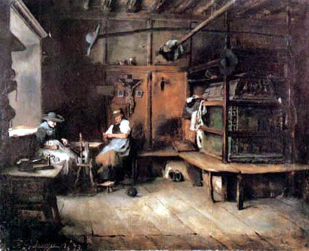 Franz von Defregger - Sarner Spinnstube