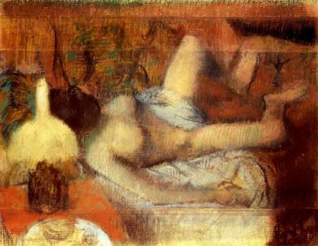 Edgar (Hilaire Germain) Degas (de Gas) - Weiblicher Akt auf einem Bett