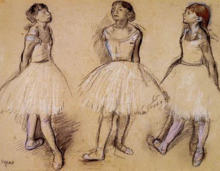 Edgar (Hilaire Germain) Degas (de Gas) - Studie, drei Tänzerinnen
