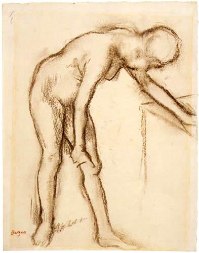 Edgar (Hilaire Germain) Degas (de Gas) - Nackte Frau sich auf einen Tisch stützend