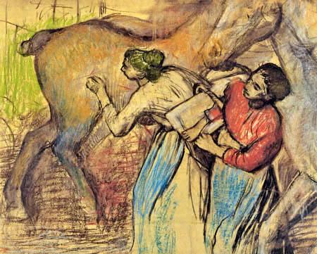 Edgar (Hilaire Germain) Degas (de Gas) - Wäscherinnen und Pferde