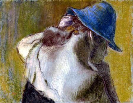 Edgar (Hilaire Germain) Degas (de Gas) - Frau mit blauem Hut