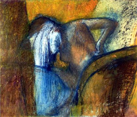 Edgar (Hilaire Germain) Degas (de Gas) - Frau sich die Haare trocknend