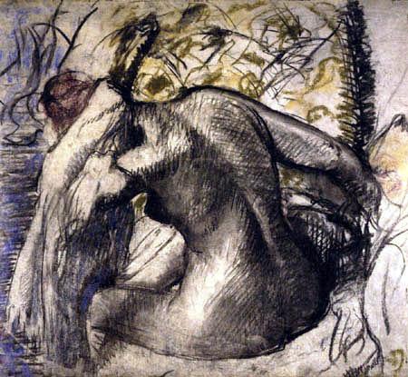 Edgar (Hilaire Germain) Degas (de Gas) - Sitzender weiblicher Akt sich die Haare trocknend