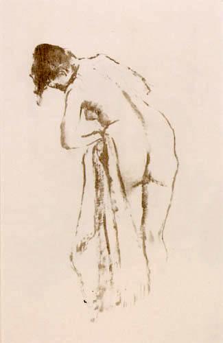 Edgar (Hilaire Germain) Degas (de Gas) - Stehender weiblicher Akt  bei der Toilette