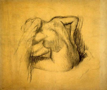 Edgar (Hilaire Germain) Degas (de Gas) - Weiblicher Akt beim Abtrocknen