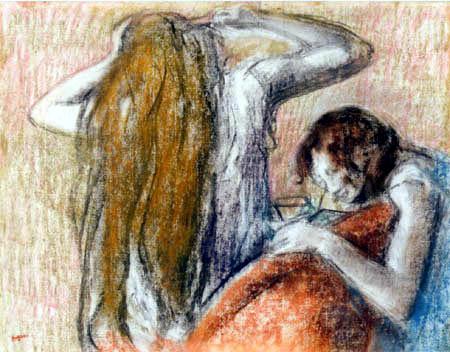 Edgar (Hilaire Germain) Degas (de Gas) - Frau beim Frisieren