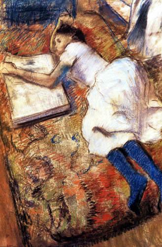 Edgar (Hilaire Germain) Degas (de Gas) - Junges liegendes Mädchen