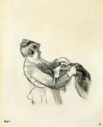 Edgar (Hilaire Germain) Degas (de Gas) - Dienerin beim Richten der Haare