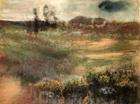 Edgar (Hilaire Germain) Degas (de Gas) - Landschaft mit Schornsteinen