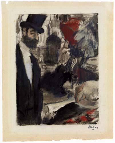 Edgar (Hilaire Germain) Degas (de Gas) - Ludovic Halévy trifft Madame Cardinal