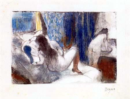 Edgar (Hilaire Germain) Degas (de Gas) - Nackte Frauen im Bett und am Waschtisch