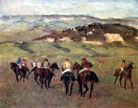 Edgar (Hilaire Germain) Degas (de Gas) - Jockeys vor hügeliger Landschaft