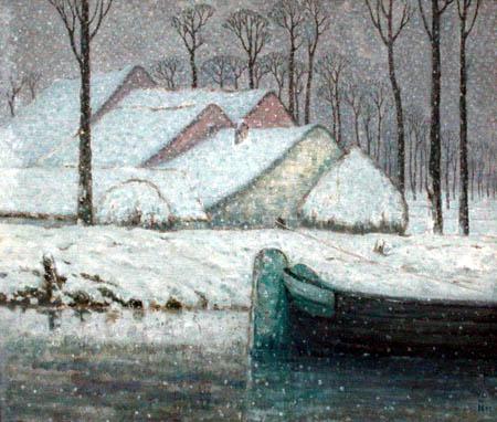William Degouve de Nuncques - Snowy landscape with barge