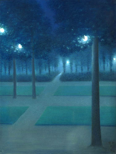 William Degouve de Nuncques - Nocturne in the Parc Royal, Brussels