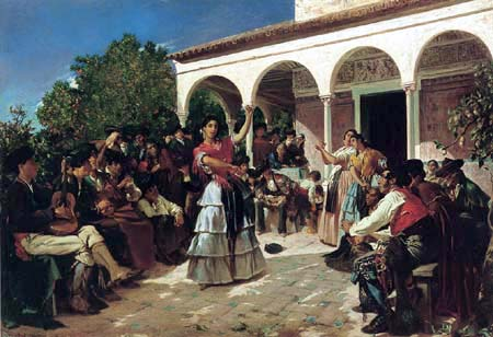 Alfred Dehodencq - A Gypsy Dance in the Gardens of the Alcázar, in front of Charles V Pavilion