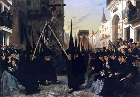 Alfred Dehodencq - A Confraternity in Procession along Calle Génova, Seville