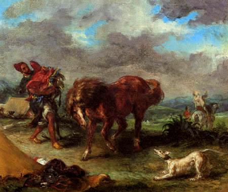 Eugene Delacroix - Der Marokkaner und sein Pferd