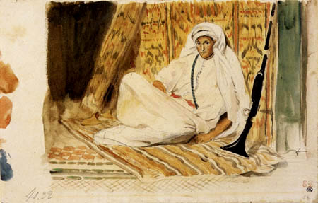 Eugene Delacroix - A young Arabs in his chamber