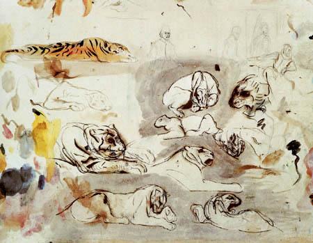 Eugene Delacroix - Tigerskizzen und Cromwell Studien