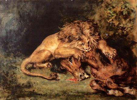 Eugene Delacroix - Löwe ein Pferd reißend