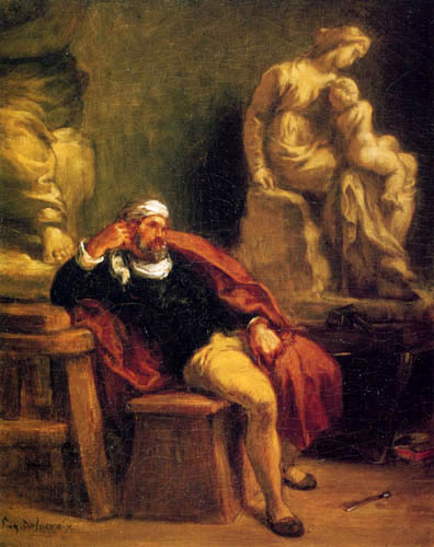 Eugene Delacroix - Michelangelo in seiner Werkstatt