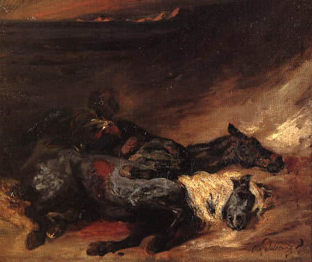 Eugene Delacroix - A battleground in the evening