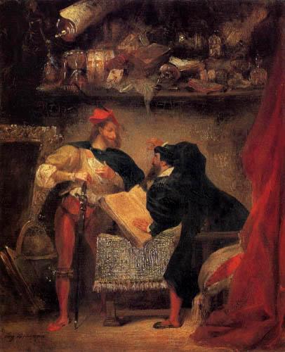 Eugene Delacroix - Mephisto erscheint Faust
