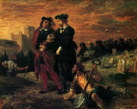 Eugene Delacroix - Hamlet und die beiden Totengräber