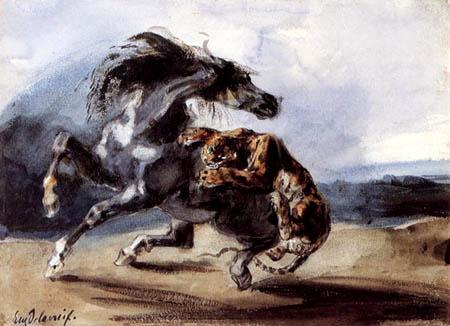 Eugene Delacroix - Tiger attacks a wild horse