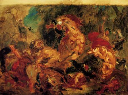 Eugene Delacroix - Lion hunt, Study