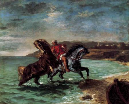 Eugene Delacroix - Zwei Pferde entsteigen dem Meer