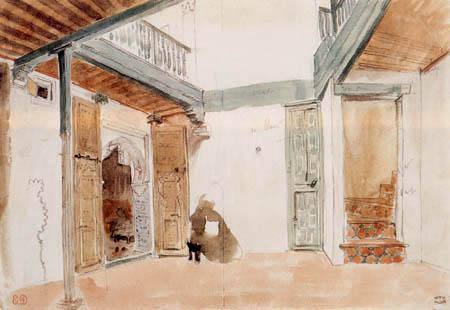 Eugene Delacroix - A yard in Tanger