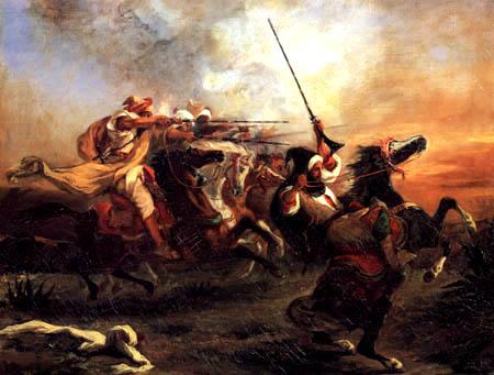 Eugene Delacroix - The collision of the Arab riders