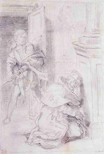 Eugene Delacroix - Hamlet and the praying King
