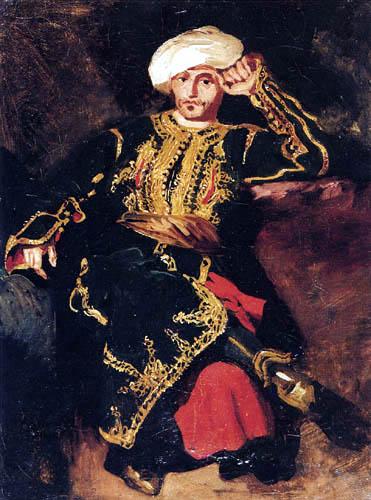 Eugene Delacroix - Sitzender, türkisch gekleideter Mann