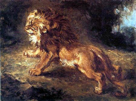Eugene Delacroix - León en la caza