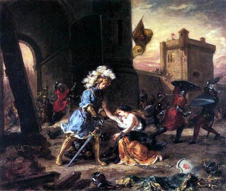 Eugene Delacroix - Amadis de Gaula rescue a young girl