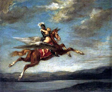 Eugene Delacroix - Roger fliegt mit Angelika davon