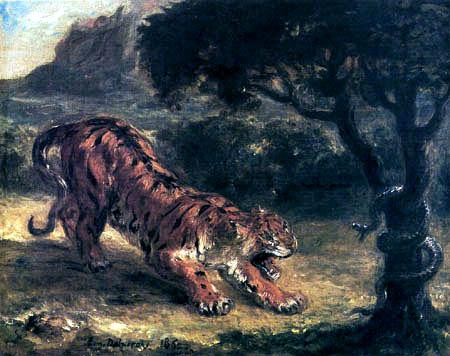 Eugene Delacroix - Tiger und Schlange