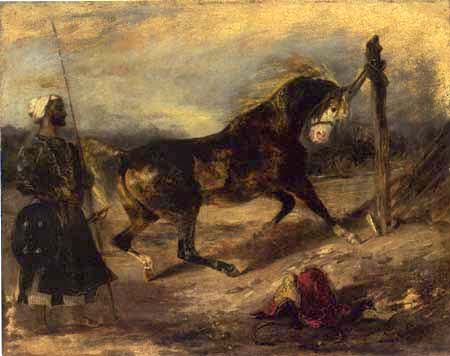 Eugene Delacroix - Indian warrior with a tethered horse