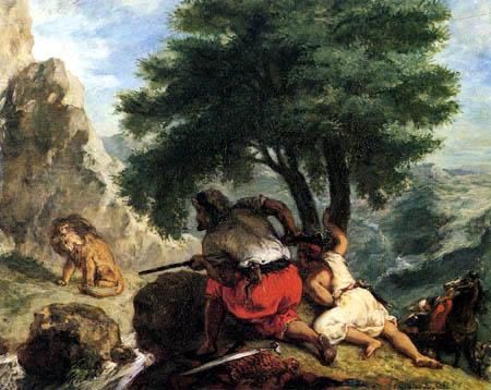 Eugene Delacroix - Lion Hunting in Morocco