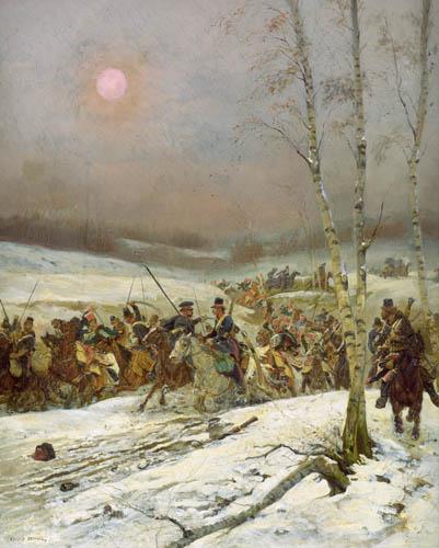 Jean-Baptiste-Édouard Detaille - Cosacos atacado por la Guardia de Honor