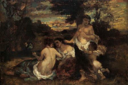 Narcisse Diaz de la Peña - Nymphs and Cupid